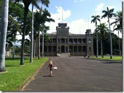 K outside Iolani Palace