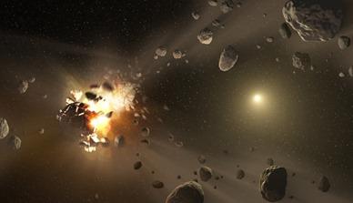 ilustração de uma colisão entre asteroides