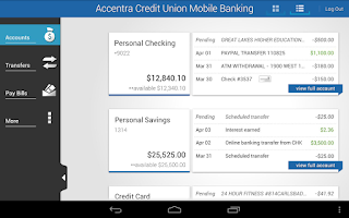 Screenshot of Accentra Credit Union Mobile