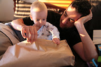 Opening presents with Daddy