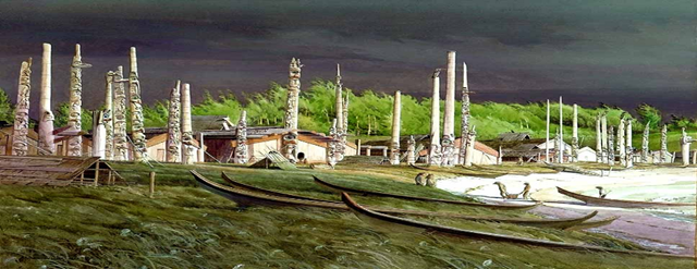Depiction of the village of Old Massett ne 'Haida', circa 1876. Haida Salmon Restoration Corporation