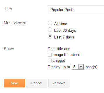 popular posts widget settings