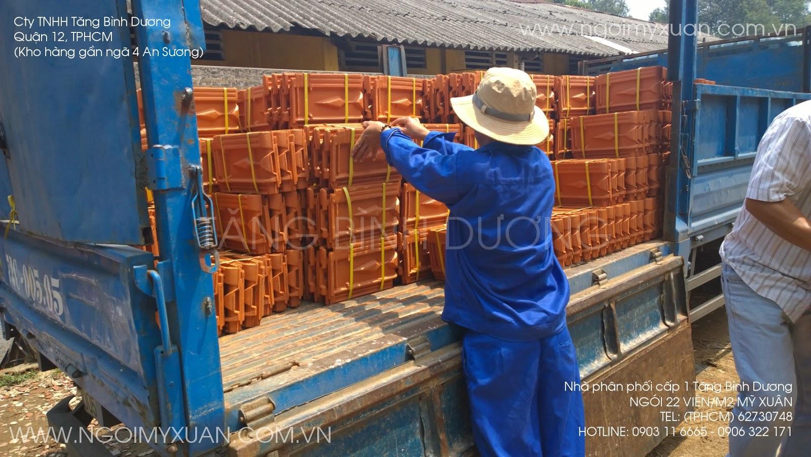 Ngói 22 Mỹ Xuân giao hàng tại kho Tăng Bình Dương