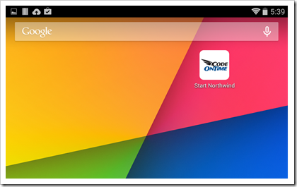 Tap the icon to access the web app created with Code On Time for a full screen experience.