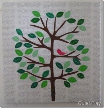 Closeup of Family Tree Quilt