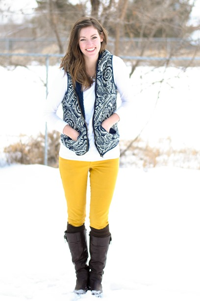 mustard skinnies + patterned vest + boots