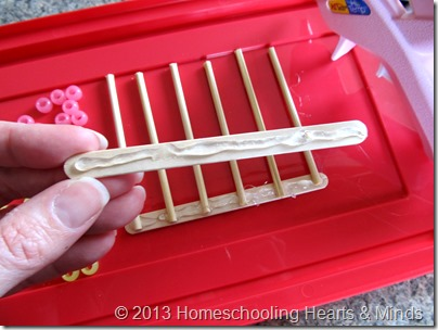 step 3 for making your own abacus @Homeschooling Hearts & Minds