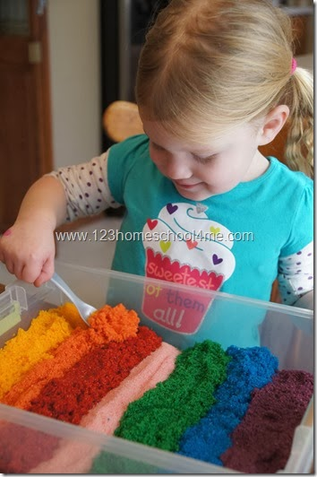 Sensory Play with homemade sand