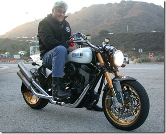 "Jay Leno on his latest bike, a ""green"" chopper"