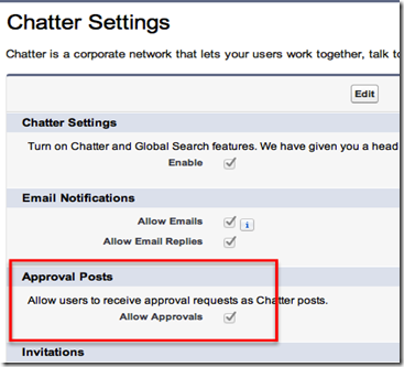 Enable Chatter Approvals in Salesforce Setup Screens