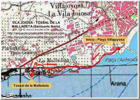Mapa ruta Villajoyosa - Tossal de la Malladeta