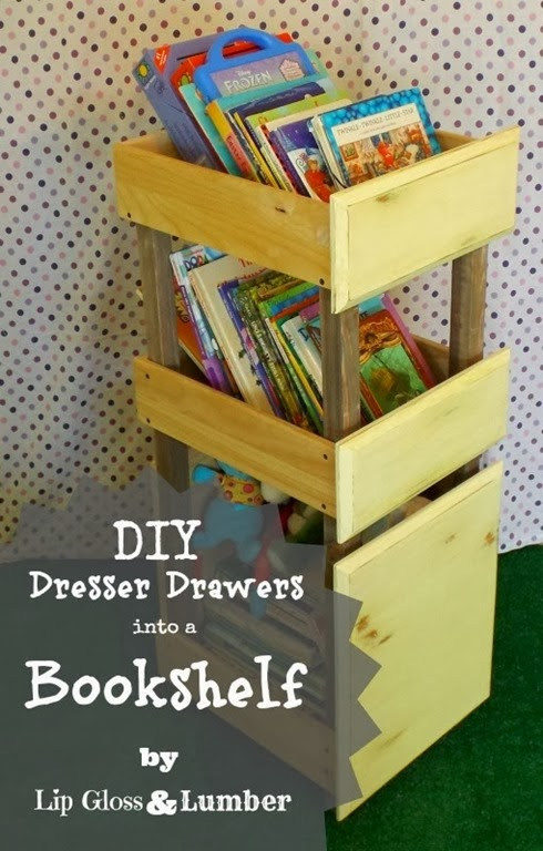 Drawers turned into Bookshelves by Lip Gloss and Lumber #DIY #Repurposed