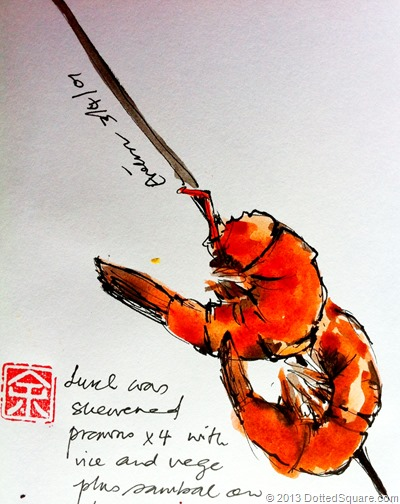 Skewered prawns sketch