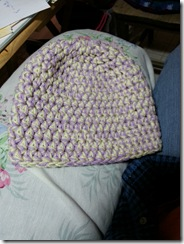 pale plum and pale yellow hat
