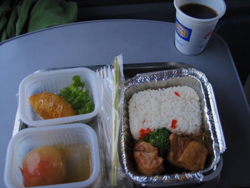 Hot lunch onboard the bus - more than most domestic airlines provide these days!