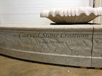 "20' Round 14"" Tall Carved Grapes Detail Fountain Pool Surround, Giallo Fantasia R Granite"