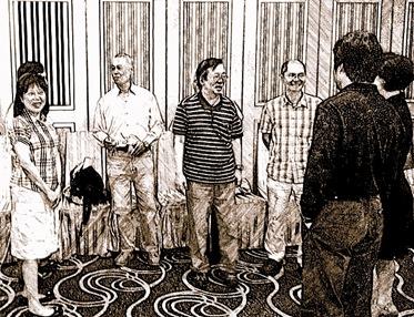 左起劉高武伉儷、師長江、王鵬東、伊林、黨英台與友人