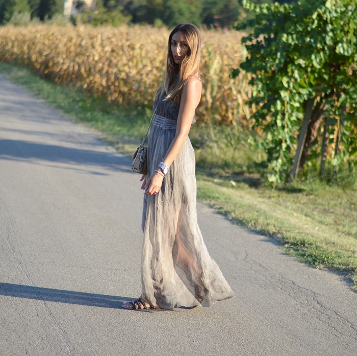 Maxi Dress, Outfit long dress, Fashion Blogger Dress, Phyton Bag, Dolce  & Gabbana Bag, Cianti, Tuscany, Primark, Studded Gladiators, Summer Outfit, Summer Look, Top Italian Blog, Italian Fashion Blogger