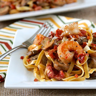 Fettuccine with Shrimp, Pancetta, Mushrooms and Tomato Cream Sauce