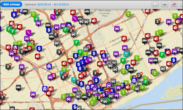 A crime map of Detroit over the week of 9 Aug 2024 - 15 Aug 2014, as tracked by the city's police department. The offenses the department tracks include larceny, vandalism, assault, robbery, vehicle break-ins, and sex crimes. Photo: City of Detroit police department