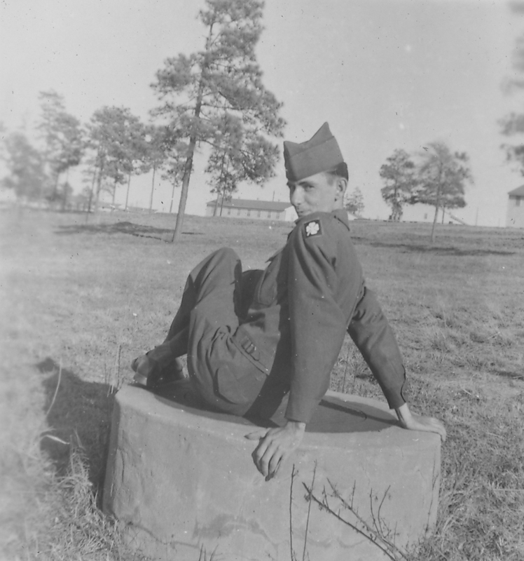 Edgar Sandifer posing at Camp Polk, Louisianna. 1951.