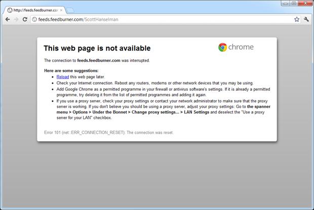 Scott Hanselman's blog RSS not accessible via Feedburner