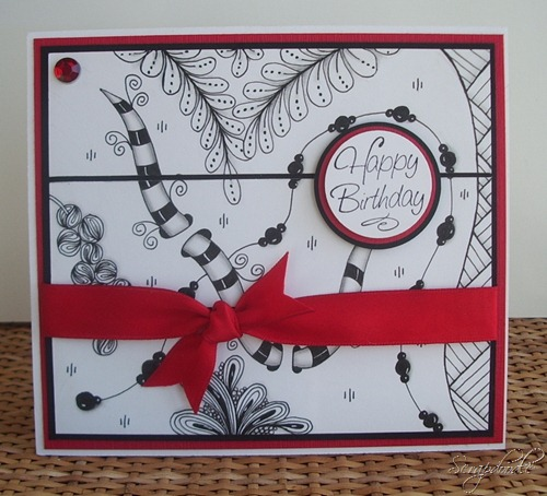 Zentangle Birthday Card, Carla's Scraps (1)