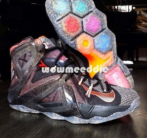 Nike LeBron XII Prototype Black and Mango Beta Version