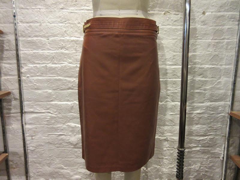 Ralph Lauren Black Label Leather Skirt