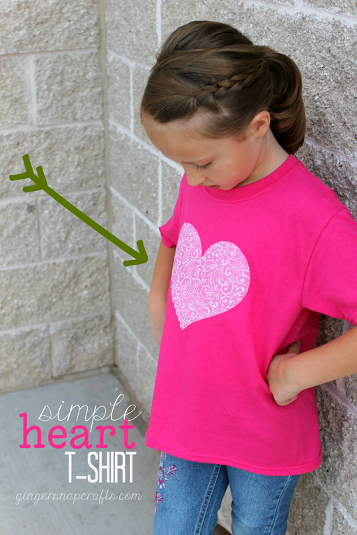 Simple Heart T-Shirt at GingerSnapCrafts.com #SilhouettePortrait #ad