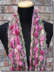 Skinny Pink and Green Scrappy Scarf
