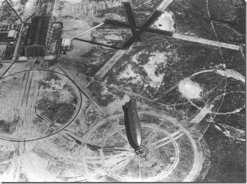 Hindenburg moored on Lakehurst airfield