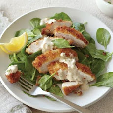 Breaded Chicken with Lemon-Green Onion Tahini
