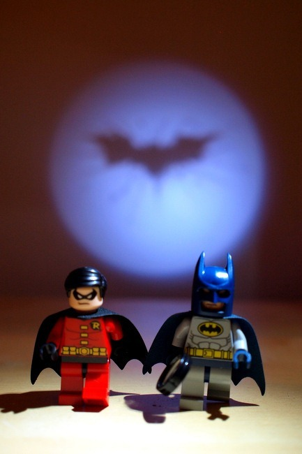 Lego Minifig Batman and Robin with my Personal Bat Signal Behind Them