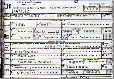 REGISTRO CIVIL DE RADAMEL FALCAO GARCIA