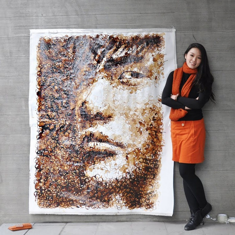 Coffee Cup Stain Portrait by Hong Yi