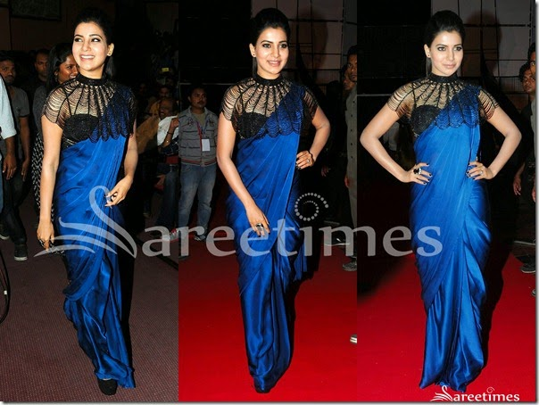 Samantha_Blue_Plain_Saree(1)