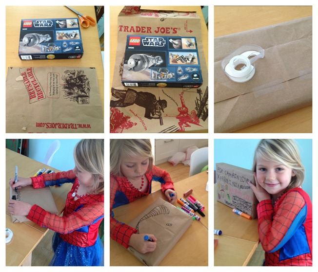 recycle brown bags as wrapping paper that kids can decorate themselves