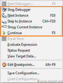 Informatica PowerCenter Mapping Debugger Menu