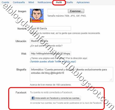 Publicar tweets en Facebook