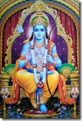 Rama sitting on a throne
