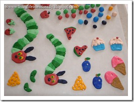 Marshmallow Fondant Caterpillars, Cheese, Pickles, Plums, Ice Cream Cone, Watermellon, Cupcakes, Strawberries, Plums, decorative balls, and more