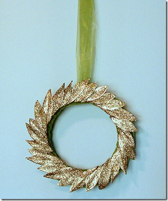 Winter wreath--gold glittered laurel wreath