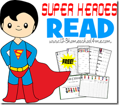 Super Heroes Read - reading logs, charts, and more