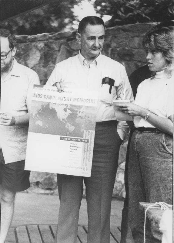 Edgar Sandifer promoting the AIDS Candlelight Memorial. May 28, 1989.