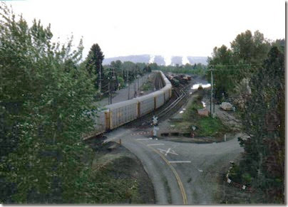View of Rocky Point Yard from the Weyerhaeuser Woods Railroad (WTCX) Cowlitz River Bridge at Kelso, Washington on May 17, 2005
