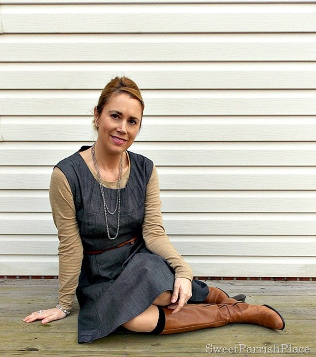 Grey denim dress with brown boots4