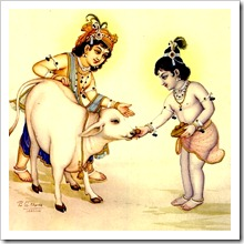 Krishna and Balarama with cow