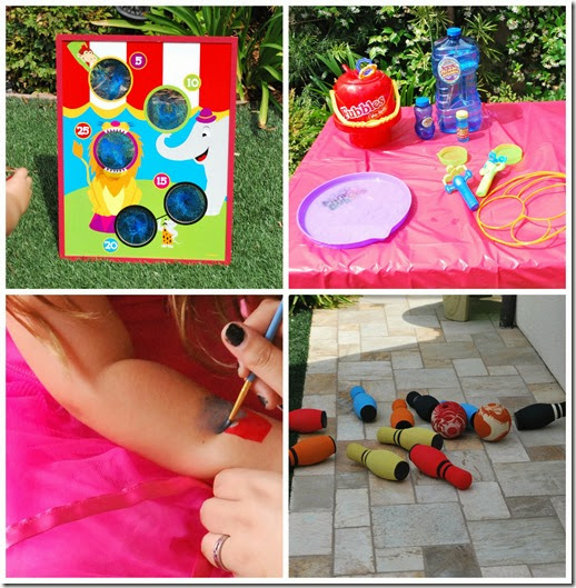 carnival party games, bean bag toss, bowling, face painting, bubbles