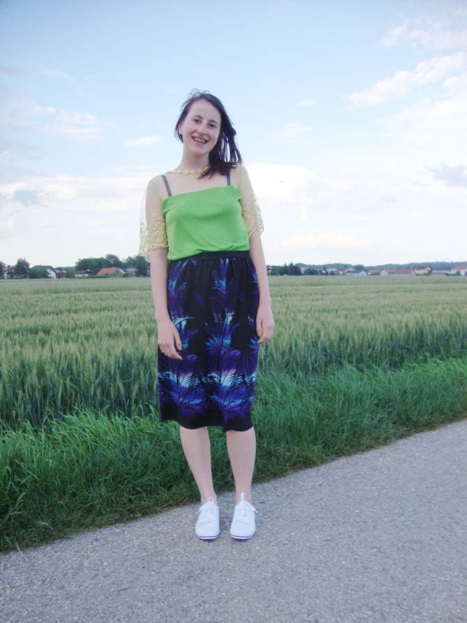 vintage skirt lace top green and blue palm print knee lenght